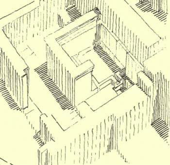 Drawing of a bathroom at Amarna in a private residence
