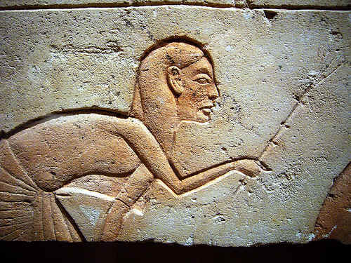 relief depicting an attendant of Akhenaten's royal family by ggnyc.